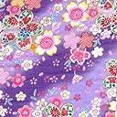 【綿二重ガーゼ ダブルガーゼ プリント】金粉桜吹雪(Wガーゼ ヴァージョン) 4色あります 1m単位で切り売りいたします (紫)