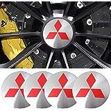 JD Auto 4pcs 56MM 2.2'' Emblem Badge Sticker Wheel Hub Caps Center Cover ABS Material (fit Mitsubishi Silver)