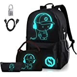 Lmeison Anime Luminous Backpack for Boys and Girls, Waterproof Charging Bookbag with USB Charging Port