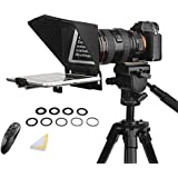 Desview T2 Portable Teleprompter Kit with 9 Lens Adapter Rings, Remote&APP Control, for Smartphones/Tablet/DSLR Camera, YouTu
