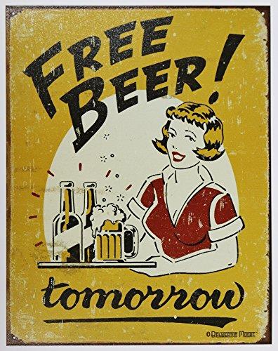 [해외]프리 비아 맥주 뷔페 복고풍 시리즈 아메리칸 양철 간판 [1290]/Free beer beer All you can drinks Retro Series American tin Signs [1290]