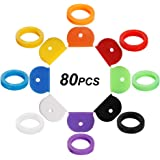 80 PCS Key Cap Cover Tags, Key Cap Key Ring Combination Key Identifier Label ID Perfect Coding System to Identify Your Key in