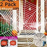 2 Pack Outdoor Halloween Decorations Giant Spider Web 10Ft 14 Round Large Spider Webs PropsSuper Stretch Cobweb Set Decor Indoor Party Supplies Favors Haunted House Window Door Walls Yard Black White