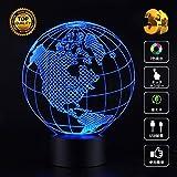 Biutee 3Dビジュアル LEDナイトライト 地球儀 夜灯 スタンドライト 装飾ランプ 7種の色 USB給電