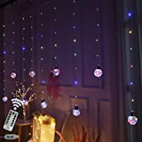 Obrecis Wishing Ball Curtain Twinkle Starry Light 8 Modes USB Remote, Led Window Curtain String Light for Wedding Party, Hall