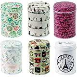 Leoyoubei 3.55x2.55 Inch Dry Storage Tinplate Caddy Box Retro Double Cover Home Kitchen Storage Containers Colorful Tins Roun