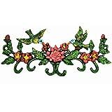 Sungmorの鋳鉄の壁に取り付けられた6つのフックが付いているカラフルなハチドリの花の壁のハンガー-28.5×12.8cm-Cloakroomの更衣室の入り口のための装飾的で機能的な掛かる棚