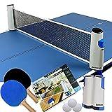 BTC ポータブル 卓球 セット ネット (ラケット ×2本 伸縮ネット ボール ×3個)アウトドア レジャー 職場 で手軽に ピンポン