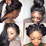 360 Lace Frontal Stright Human Hair Wigs, Peruvian Pre Plucked Lace Wig Glueless Human Hair Wigs for Black Women With Baby Ha