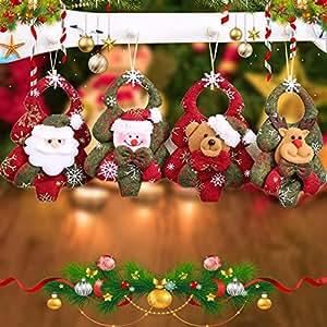 Jannyshop クリスマスツリー 飾り クリスマスパーティーの装飾 オーナメント インテリア 飾り 飾り付け クリスマス用品 ギフト 人形 サンタクロース/雪だるま/ナカイ/ベア 4pcs