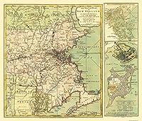 古い状態マップ–新しいEngland Seatの独立戦争–1775–27.13X 23 Matte Art Paper ZZNE0001-3