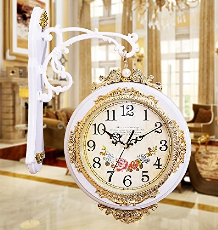 壁掛け時計 両面掛時計 ステップ秒針 部屋飾り インテリア レトロ ヨーロッパ風(ホワイト)