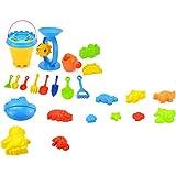 JVSISM Set of 25 Baby Kid Beach Toys with Castle Bucket Spade Shovel Rake Kettle Children Toys