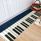 yazi-モダンデザイン フランネルラグ 白黒ピアノ キー 紺色ベース 洗える 個性的な 玄関マット 44CM*115CM