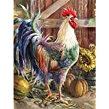DIY 5D Diamond Painting by Numbers Kits, Rooster Sunflower, Chicken Flower, Full Drill Rhinestones Paint with Diamonds Crysta