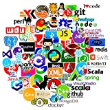 72個ITロゴのグラフィカルなブライダルステッカー、プログラミングコーダー言語シリーズロゴ、ZONTOR Developer Programmer Decoration、C#C ++、Python、JS Java(72パック)