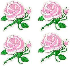 アップアップ(upup) DIY大人気アイロン接着刺繍 アップリケ ローズ花ワッペン4枚セット (ピンク)