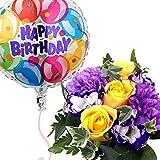 バルーンフラワー ノーブルムーン 浮かぶバルーンと生花アレンジのセット 誕生日 記念日 開店祝い などに (バースディ)