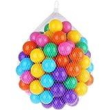 Mazhashop カラーボール おもちゃボール 7色約100個 直径約7cm やわらかポリエチレン製 収納ネットセット(大きいサイズ)(プール/ボールハウス用)