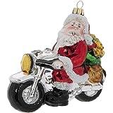 Robert Stanley Santa on Motorcycle Glass Christmas Ornament, for Bikers