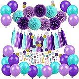 Cocodeko マーメイド 飾り セット Mermaid Party Decoration パーティー 人魚 人魚姫 ラテックスバルーン 風船 ポスター ペーパーフラワー ペーパーランタン 紙提灯 57枚セット