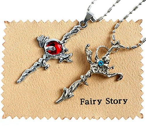 [해외]Fairy Story K 파란색 클랜 셉터 4 무 나카타 레이지 & 레드 클랜 吠舞 루오 (불꽃) 스오 미코토 (레드 타입) 다모 클레스의 검 모티브 코스프레 목걸이 2 개 세트 크로스 포함/Fairy Story K Blue Clansetter 4 Munakata Kishi & Red Cran Bakura (...