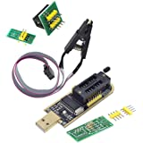 PETTOYA CH341A USB型プロ*グラマー(ROMライター SPI Flashライター 24、25シリーズ対応用)+SOIC8、SOP8対応用 クリップアダプター (8ピン)セット