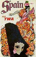 Twaスペイン–ビンテージポスター(アーティスト: David Klein ) C。1955 24 x 36 Signed Art Print LANT-64015-710