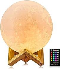 月ランプ ライト月 吊り下げるランプ タイマー機能 ベッドサイドランプ 夜間ライト インテリア照明 USB充電式 タッチスイッチ調光 リモコン付き15センチ 3DプリントLED月ライトGDREAMT RGB16色切替え月ランプ バレンタインデー 子供 プレゼント 日本語取扱説明書付 品質合格