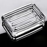 MOLFUJ Clear Glass Bar Soap Holder Dish, Diamond Cutting Rectangular Decorative Soap Dish Modern Design Transparant Crystal B