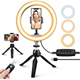 "10"" LED Ring Light with Tripod Stand & Phone Holder, UBeesize Dimmable Desk Makeup Ring Light, Perfect for Live Streaming & Y"