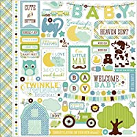 Echo Park Paper Bundle of Joy/A New Addition Baby Boy Element Cardstock Stickers, 12 by 12 by Echo Park Paper