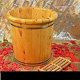 足浴桶 足の浴槽、木製の足の盆地足のバレルの足の足のマッサージの足の盆カバーの足の桶