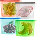 YOMYM Food Storage Bag, Preservation Bag Container for, 4pcs Large Reusable Silicon Bags, Food Storage, Reusable and Sealable