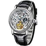 (B BINGER) 腕時計 自動巻き スケルトン サン&ムーンフェイズ メンズ 黒・白色