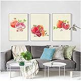 赤いザクロ抽象的なミニマリストのポスターとプリントアートキャンバス絵画寝室の装飾壁絵40×50センチ×3フレームなし