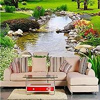 Xbwy 3D壁の壁画壁紙公園川自然風景写真の壁紙リビングルームテレビソファ背景壁フレスコ画居心地の良い3D家の装飾-200X140Cm