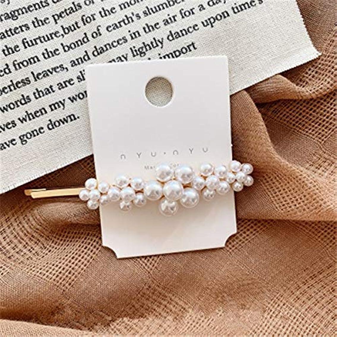 聖書終わり天文学Hairpinheair Yhm模造真珠の花ヘアピンヴィンテージロングバレットヘアクリップクリスタルメタルヘアアクセサリーヘアグリップ (色 : Color1)