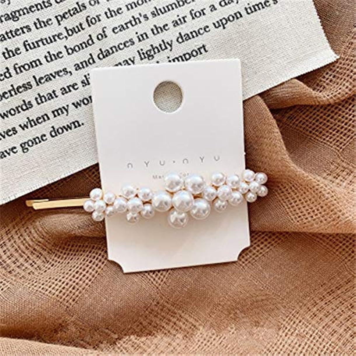 黄ばむ簡単に九月Hairpinheair Yhm模造真珠の花ヘアピンヴィンテージロングバレットヘアクリップクリスタルメタルヘアアクセサリーヘアグリップ (色 : Color1)