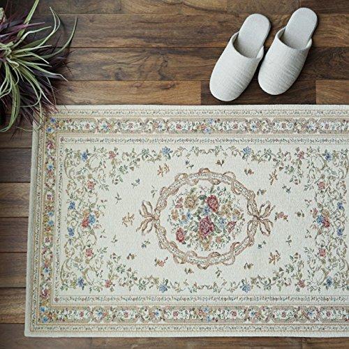 花模様 薄型 玄関マット 048 ライトベージュ サイズ約70х120cm 室内 屋内 用 ゴブラン織シェニール