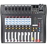 ammoon 8チャンネルミキサー ミキシングコンソール 録音/DJステージ/カラオケ/音楽鑑賞用48Vファンタム電源付き CT80S-USB