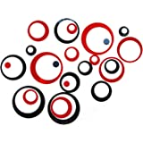 24Pcs Wall Decal Acrylic Modern Mirror Art Mural Wall Sticker for Home Living Room Bedroom Decor Black and Red