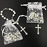 simplewoo First Communion Gifts Baptism Rosary Party Favors Recuerdos De Bautizo Quinceanera White/SILV Pack of 12pcs