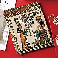 iPad mini4 ケース, ipad mini4 カバー,高級品質、ポリウレタン製、 7.9インチタブレットケースカバー、オートスリープ機能付き、防衝撃デザイン、Isisへの供物をしているNefertari女王を描いたエジプトのパピルスImage Print