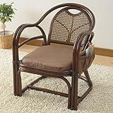 山善(YAMAZEN) 籐(ラタン)製 らくらく立ち上がり座椅子(座面高さ35cm) ブラウン TF20-531M(BR)