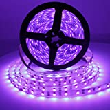 Solarlang UV Blacklight LED Strip kit, 24W, 16.4FT/5M, 300LEDs, 395nm-405nm, 12V Flexible Blacklight Ribbon, Non-Waterproof f