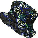 DUSTSTROKE ( ダストストローク ) パイナップル トロピカル フルーツ アロハ 柄 ( 3色 から 選べる ) バケットハット ユニセックス レディース メンズ ストリート カジュアル きれいめ ホワイト ピンク ブラック ハット 帽子 (ブラック)