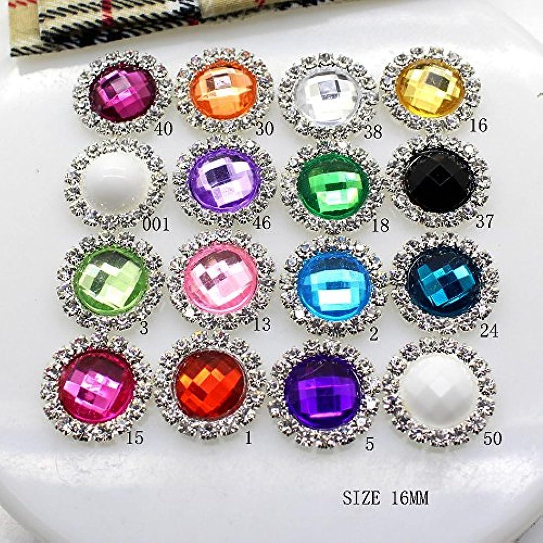 指標比べるアリスJicorzo - 10個入り/ LOTアクリル16MMラインストーンのボタンDIYダイヤモンドのボタンの招待ゲイルヘアちょう結びフラワーアクセサリー[いいえ18]