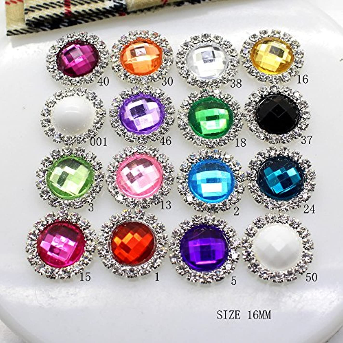 または役員ダブルPropenary - 10個入り/ LOTアクリル16MMラインストーンのボタンDIYダイヤモンドのボタンの招待ゲイルヘアちょう結びフラワーアクセサリー[いいえ15]