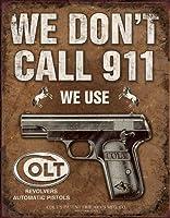 COLT・銃器メーカー★コルト・Don't Call 911★レトロ調★アメリカンブリキ看板